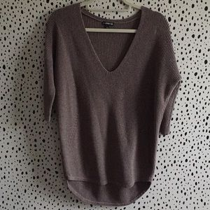 Express small glittery sweater brown half sleeve